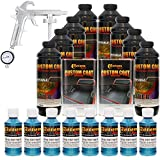 Custom Coat BLUE METALLIC 8 Liter Urethane Spray-On Truck Bed Liner Kit with (FREE) Custom Coat Spray Gun with Regulator