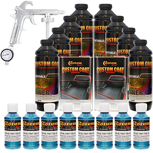 Custom Coat BLUE METALLIC 8 Liter Urethane Spray-On Truck Bed Liner Kit with (FREE) Custom Coat Spray Gun with Regulator