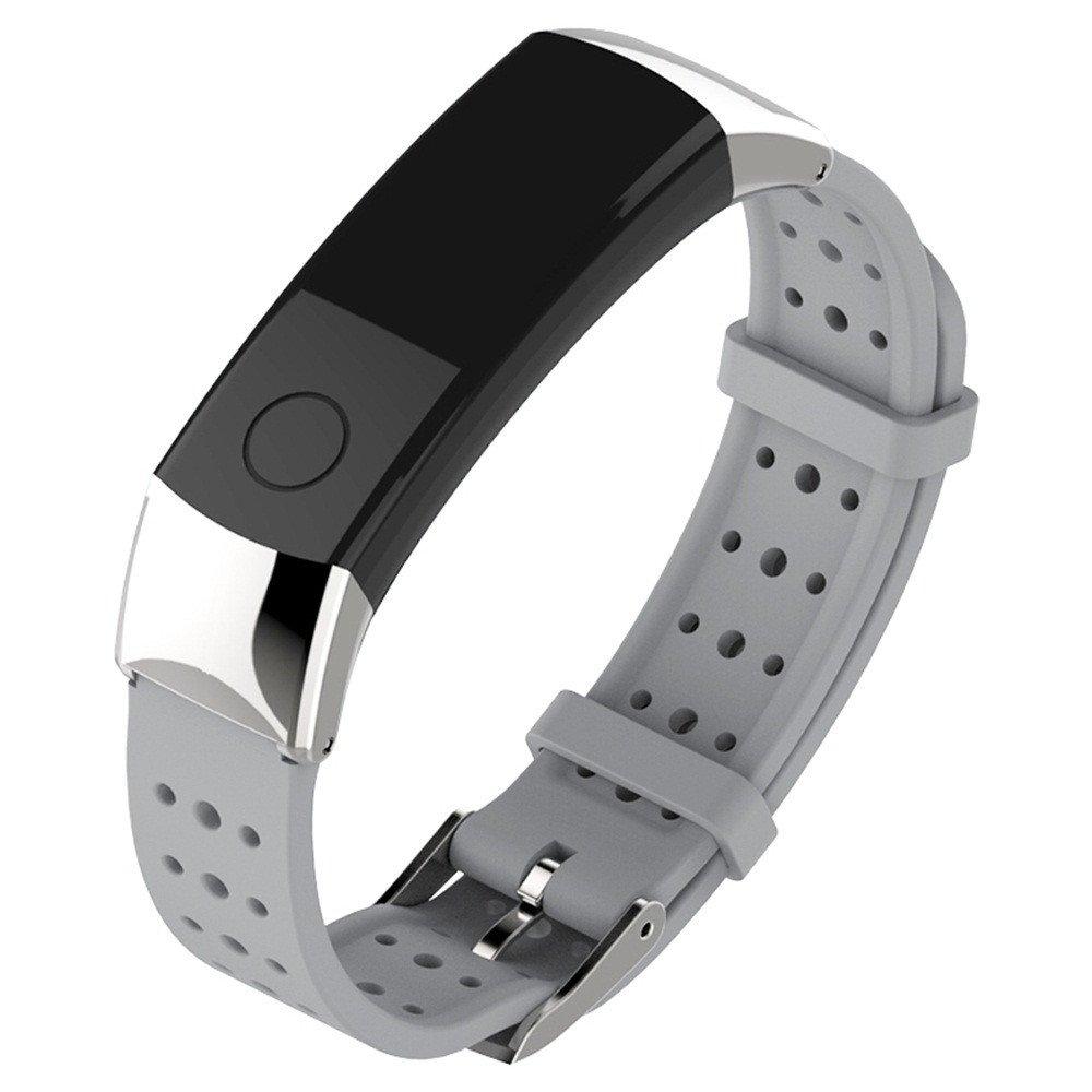 JiaMeng Correa para Huawei Honor 3, Banda de la Correa de la Pulsera del silicón Deportes de la Manera para el Reloj Elegante(Gris): Amazon.es: Ropa y ...