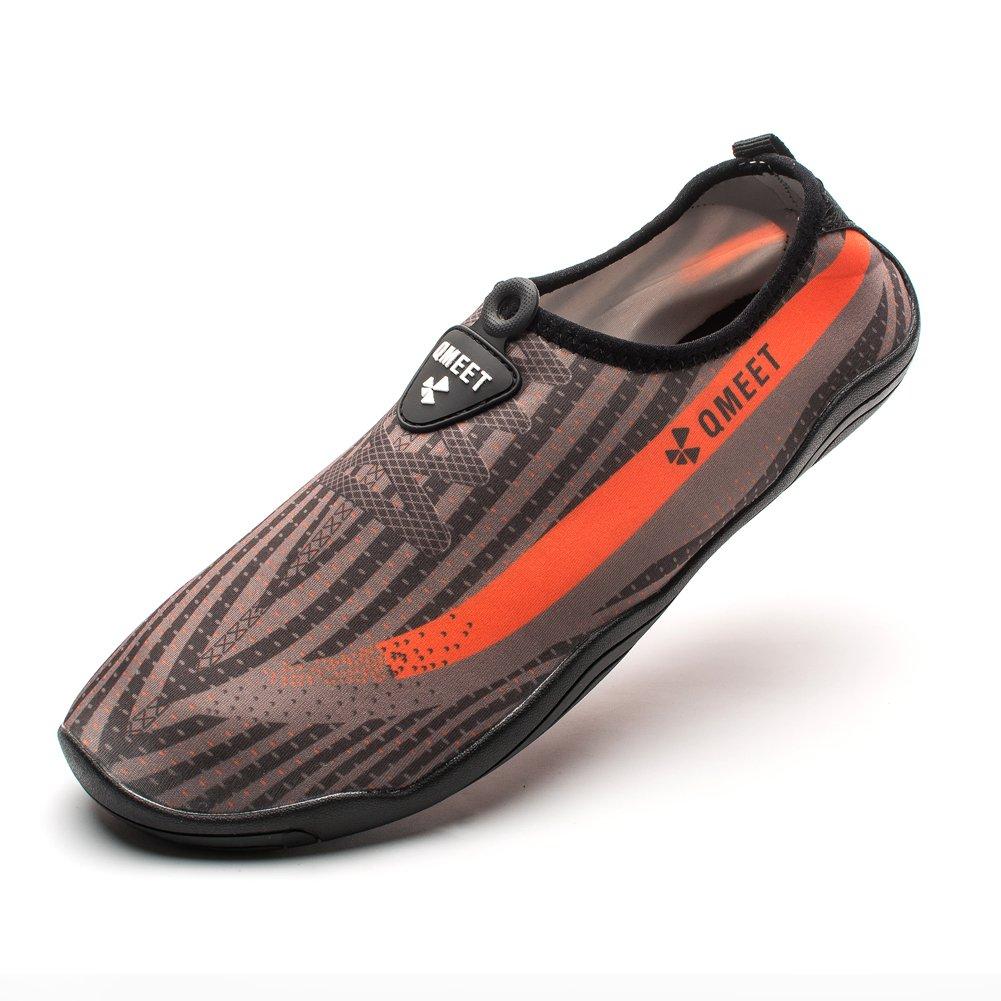 QMEET Water Shoes Mens Womens Beach Shoes Quick Dry Barefoot Aqua for Swimming Driving Boating Yoga Pool Beach Walking Running (US Women 10/ Men 9'', Gray Orange)