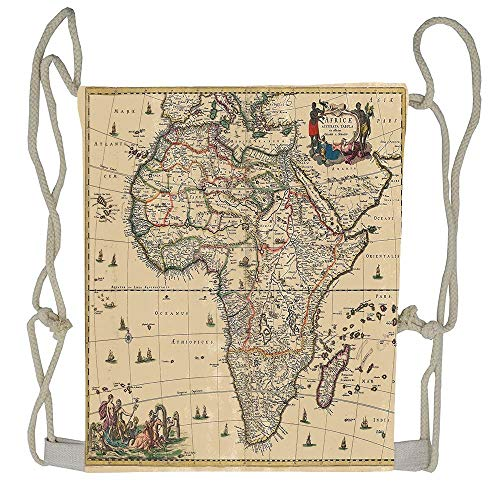 AoshangGardeflag Old Map of Africa Continent Ancient Historic Borders Rustic Manuscript Geography Image Drawstring Backpack Rucksack Shoulder Bags Training Gym Sack For Man And Women (Manuscript Border)
