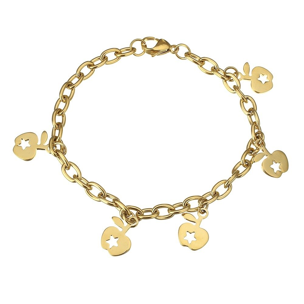 Girls Fashion Stainless Steel Gold Tone Apple Chain Link Bracelet 439701 132