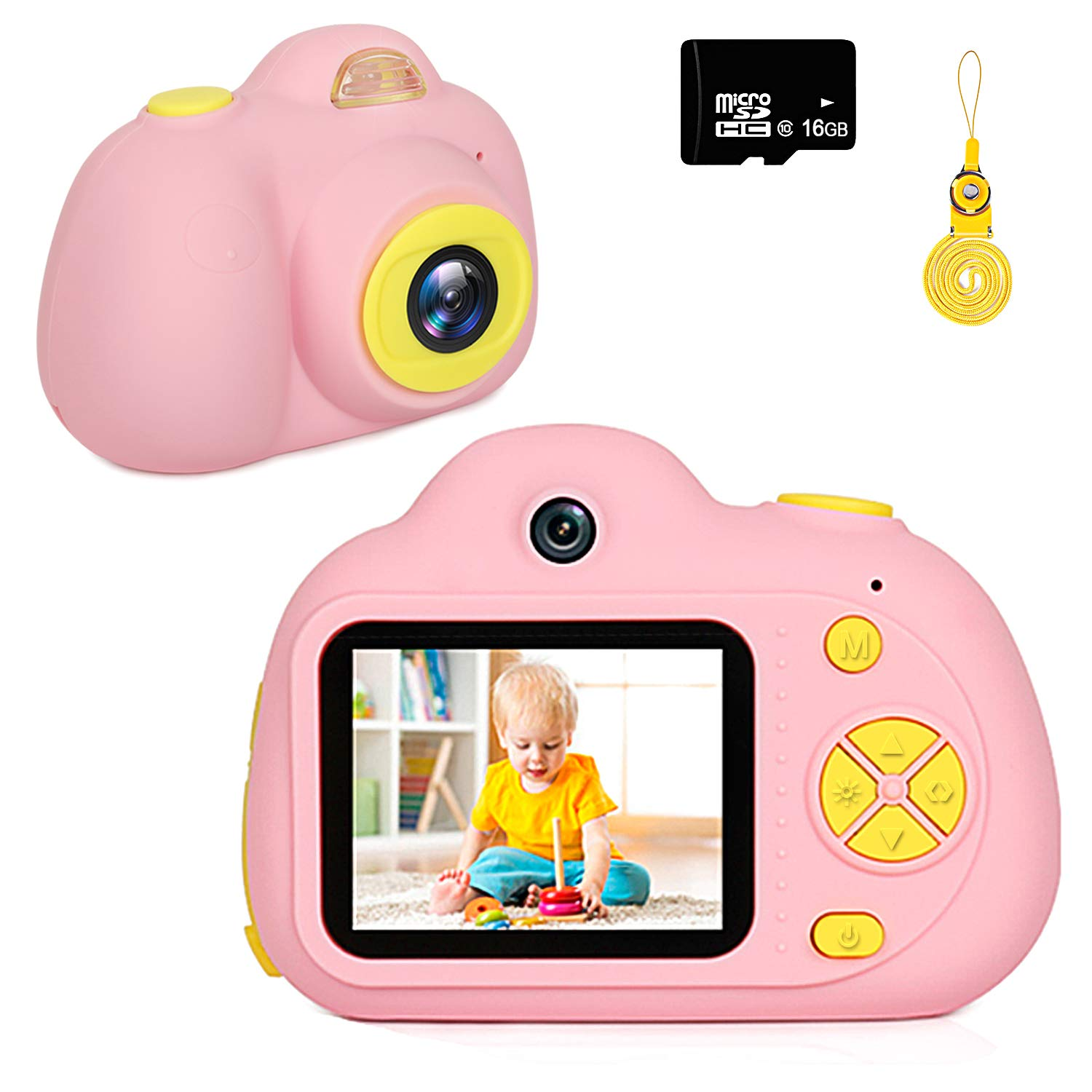 Kids Camera Gifts for Girls 1080P HD,Mini Rechargeable Children Shockproof Digital Front and Rear Selfie Camera Child Camcorder for 3-9 Year Old Kids Gifts waterproof 2.0'' LCD Screen (Pink)