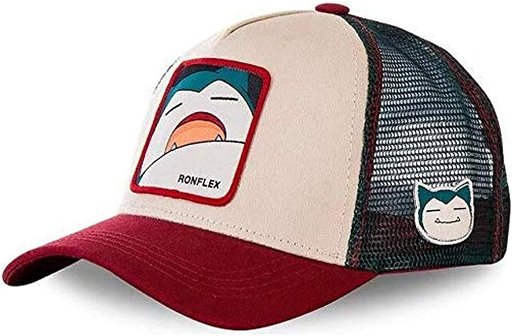 Gorra Visera Curva Trucker Pokemon Snorlax Gris y roja: Amazon.es ...