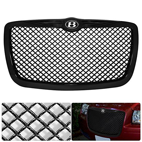 For Chrysler 300 300C B Bentley Logo Emblem Badge Black Diamond Mesh Front Hood Bumper Grille Grill Replacement Upgrade