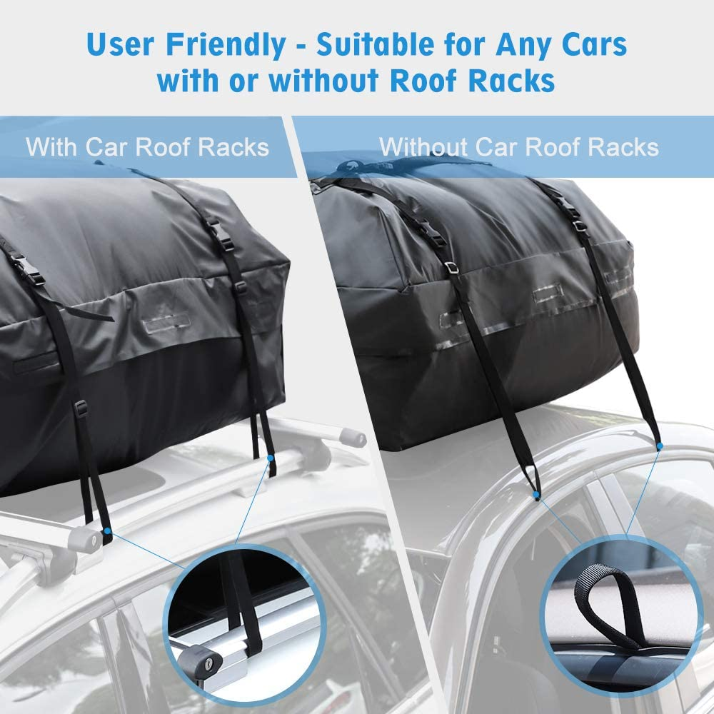 Soft Shell Luggage Storage Bag for Vehicles with//Without Roof Racks Large Capacity 15 Cubic Feet rabbitgoo Rooftop Cargo Carrier Waterproof Car Roof Top Cargo Bag with Heavy Duty Straps