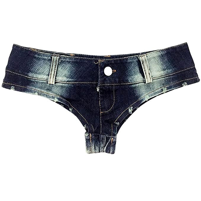 Haomei Mujeres Mini Denim Shorts de Talle Bajo Pantalones ...