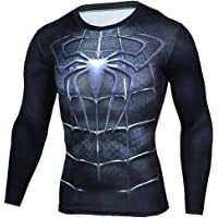 Quick Dry Long Sleeve Black Spider Dri-fit Compression Top Shirt