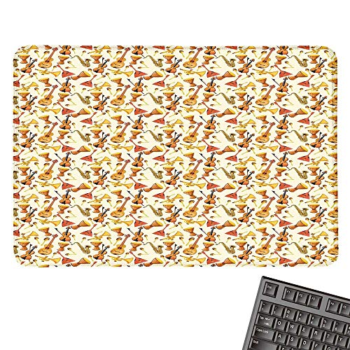 Jazz MusicOffice Mouse PadPattern with Horn Drum Guitar and Fiddlestick Folk Music Ensemble InstrumentsWaterproof Mice Pad ()