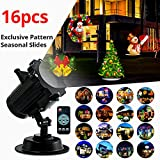 Christmas Light Projector Led Projector 2017 Newest Version Bright Led Landscape Spotlight with 16 Slides Dynamic Lighting Landscape Led Projector Light Show for Halloween, Party, Holiday, Wedding, Christmas Decoration-Black