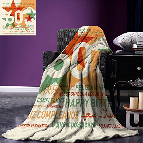 smallbeefly 60th Birthday Lightweight Blanket World Cities Birthday Party Theme with Abstract Stars Print Digital Printing Blanket Green Vermilion and White