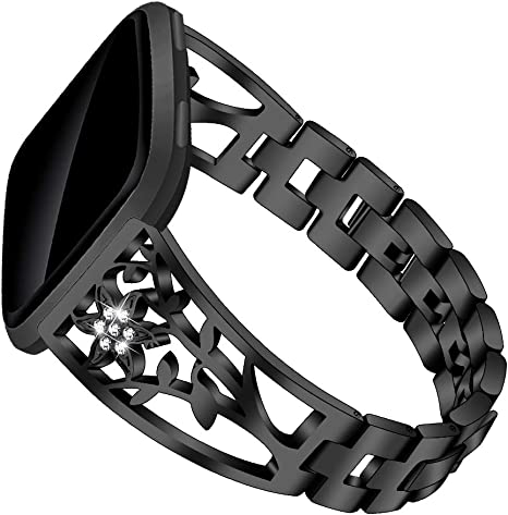 SAMMID Luxury Stainless Steel Band Bangle Bracelet Replacement Fitness Strap with Rhinestones Accessories Metal Band for Fitbit Versa//Versa 2//Versa Lite Bands For Fitbit Versa Lite Black