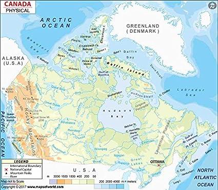 Canada Physical Map - Laminated (36\