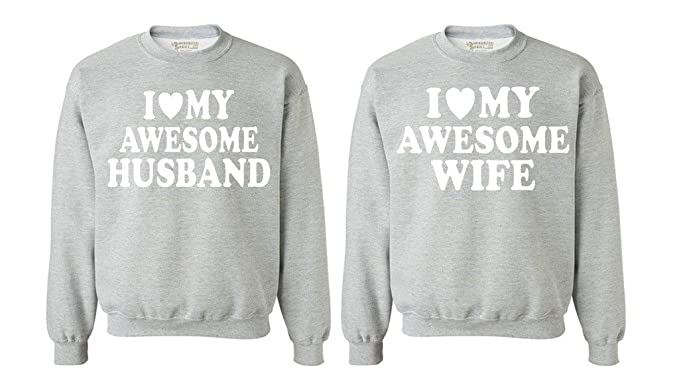 becaccd0ff Awkwardstyles Matching Couple I Love My Awesome Husband Wife Crewnecks Gray Men  Large/Ladies Small