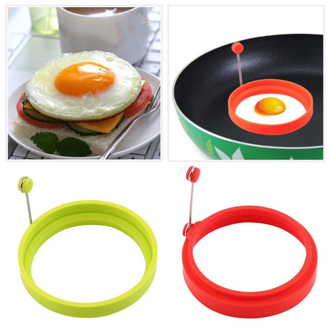 Pgige Silicona Huevo Frito Panqueque Anillo Tortilla Huevo Frito Molde Redondo Huevos Molde para cocinar Desayuno Sart/én Horno Cocina-Verde