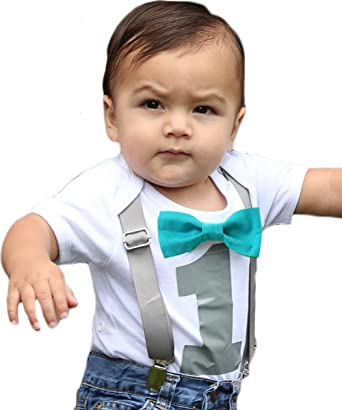 0de8a7a13 Noahs Boytique First Birthday Outfit Boy Gray And Teal Bow Tie Suspenders  Number One Cake