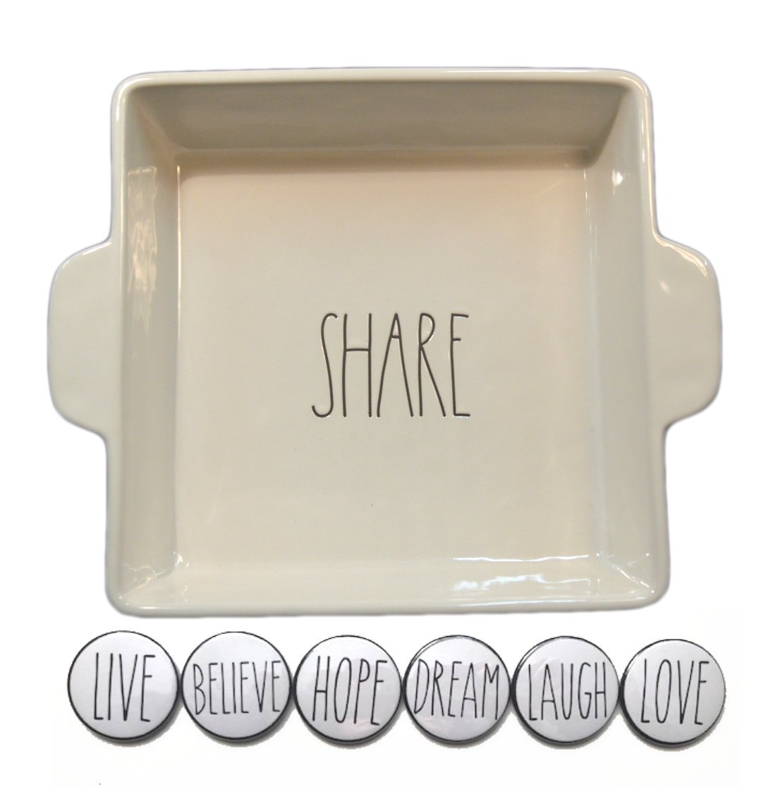 Rae Dunn Large 9 Inch Square SHARE Casserole Baking Dish Cake Pan and Fridge Magnet Set Bundle by Rae Dunn