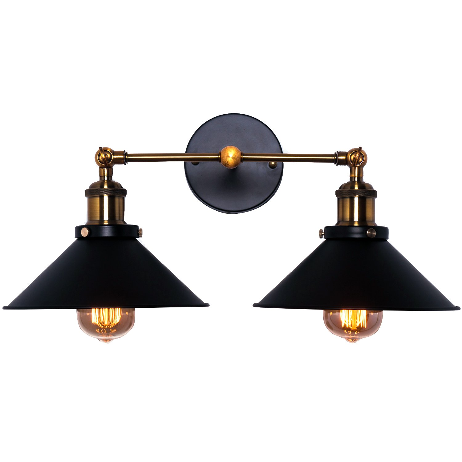 Wall Sconce Lighting Shade, Topotdor Industrial Edison Simplicity 2 Light Wall Mount Light Sconces Aged Steel Finished