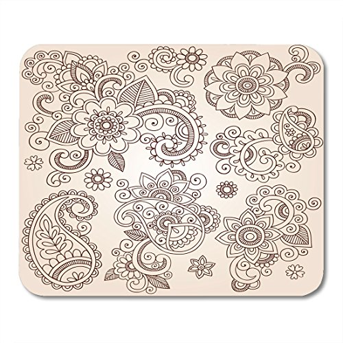 Boszina Mouse pad Fun Indian Henna Paisley Flowers Mehndi Tattoo Doodles Abstract Floral Design Groovy Retro Office Supplies mouses pad 9.5x7.9 Inches Mousepad from Boszina