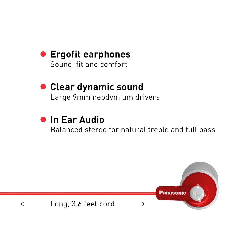 Panasonic ErgoFit In-Ear Earbud Headphones RP-HJE120-A Ergonomic Comfort-Fit Dynamic Crystal-Clear Sound Blue