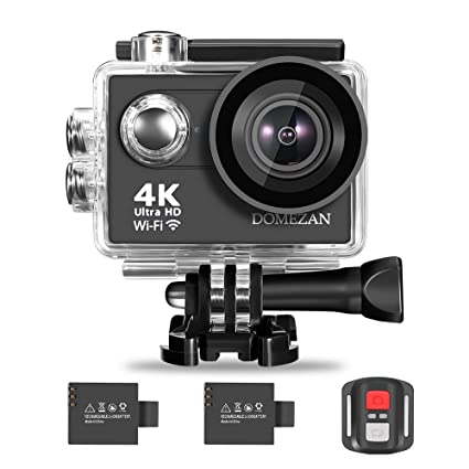 4K Action Camera Wifi, DOMEZAN Waterproof Sports Camera 12MP 170 Degree Wide Angle Includes 2