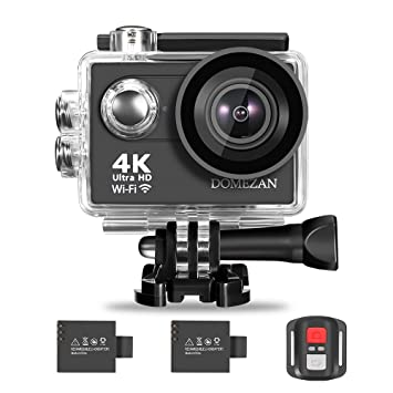 0eca1314c7528d 4K Action Camera WiFi, DOMEZAN Waterproof Sports Camera 12MP 170 Degree  Wide Angle Includes 2
