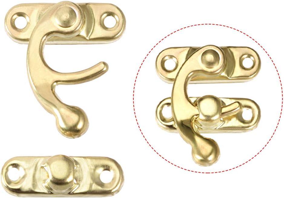 sourcing map 20Stk Antike linken Haken Haspe Schwenkarm Verriegelung mit Schrauben Gold