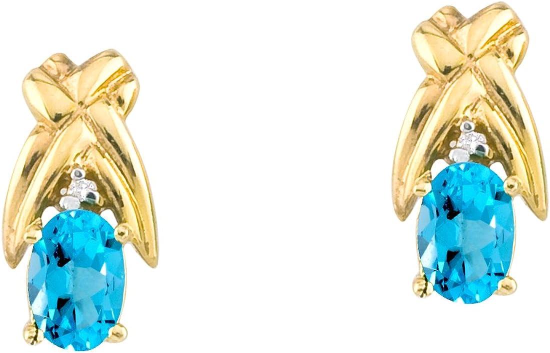 14 K 6 x 4 mm oro amarillo topacio y diamante de oval con forma de pendientes