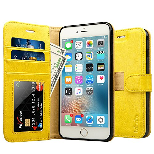 iPhone 6S Plus Case, Labato Genuine Leather Wallet Folio Flip Case Cover Magnetic Stand Function with Card Slots/Cash Compartment for Apple iPhone 6 Plus/ 6S Plus 5.5- Yellow (lbt-I6U-05Z80)