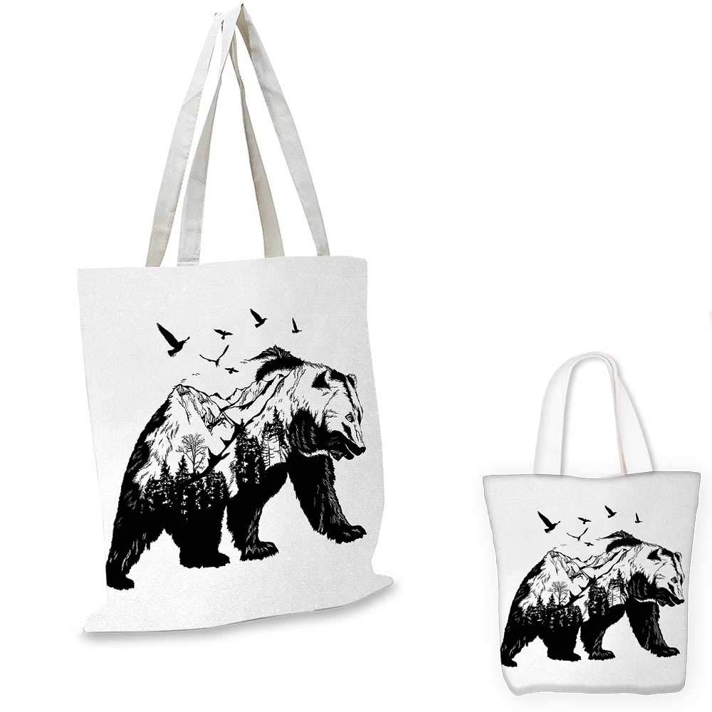 贈り物 マウンテン風景の飛んでいる鳥と森の野生動物デザインのBearMammal シルエット カラー01 B07KCDJBR6、黒白。 14