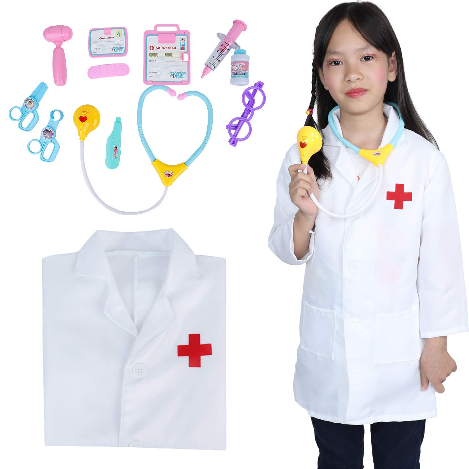Children 12 Piece Dress up kit Learning Resources Lab Uniform Medical Doctor/Nurse Play Set for Unisex Kids (White) Without Cap by Huang Cheng Toys
