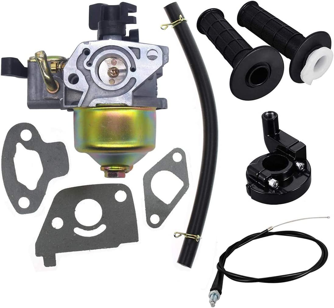 Carburetor with Gaskets Fuel Line,22mm Twist Throttle Handle Grips with Grip Cable for 97CC 2.8hp Mb165 Mb200 5.5 6.5hp 196 200cc Mini Baja Doodlebug Doodle Bug Db30 Dirt Pit Mini Bike