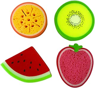 purifyou Kids & Baby Bath Sponge, Set Of 4 Fun Fruit Sponges (Set Of 4, Assorted Fruits)