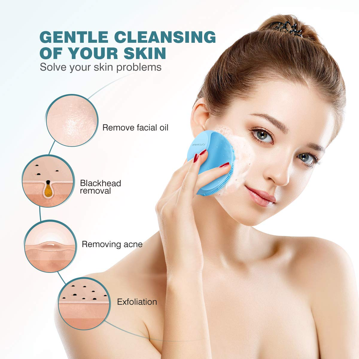 Silicone Face Scrubber Exfoliator Brush, Manual Facial Cleansing Brush Pad Soft Face Cleanser 2 Pack (Yellow and Blue)