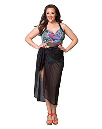 73d15162d1fbf Kiyonna Women s Plus Size Swim Wrap Cover Up Sarong Skirt at Amazon Women s  Clothing store