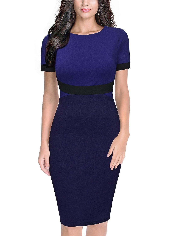 Miusol® - Vestido - ajustado - Manga corta - para mujer Azul azul 44: Amazon.es: Ropa y accesorios