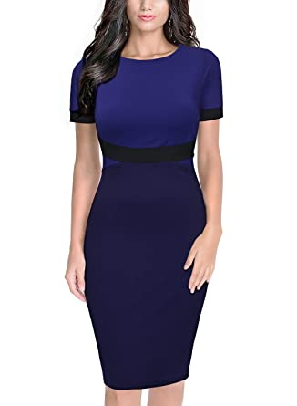 Miusol Womens Scoop Neck Optical Illusion Business Work Pencil Dress, XX-Large, Navy