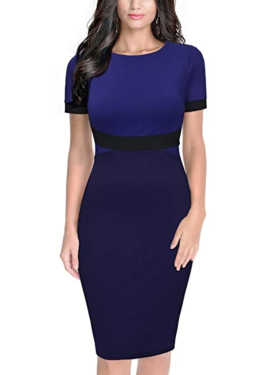 Amazon.com: Miusol Womens Scoop Neck Optical Illusion Business Work Pencil Dress, XX-Large, Navy Blue: Clothing