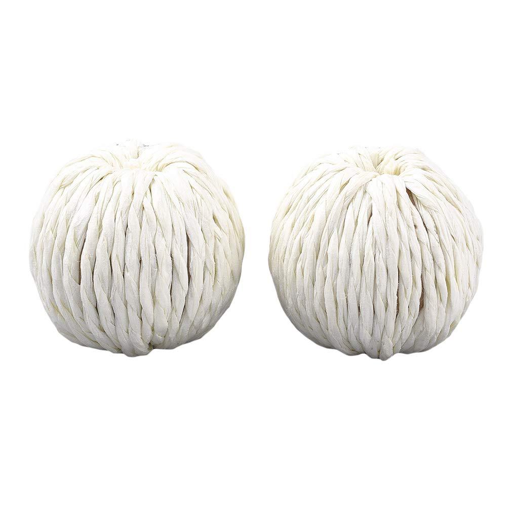 arricraft 50 Pcs Handmade Imitation Raffia Round Paper Woven Beige Beads with Wood Inside for DIY Craft Making by arricraft