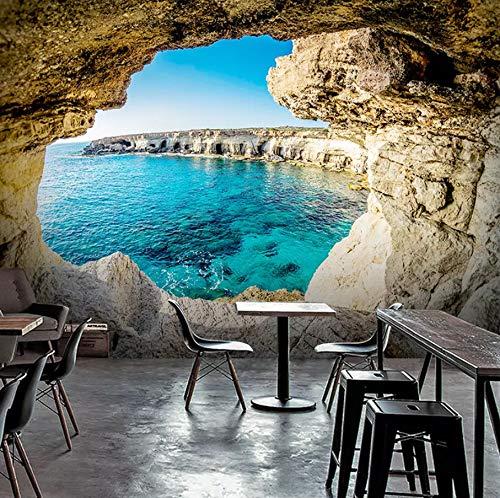 Weaeo 3D洞窟の海景壁の地中海の現代の壁紙ソファの居間テレビの壁の壁の家の装飾の写真3D壁画-250X175CM B07GYV6BZD 250X175CM 250X175CM