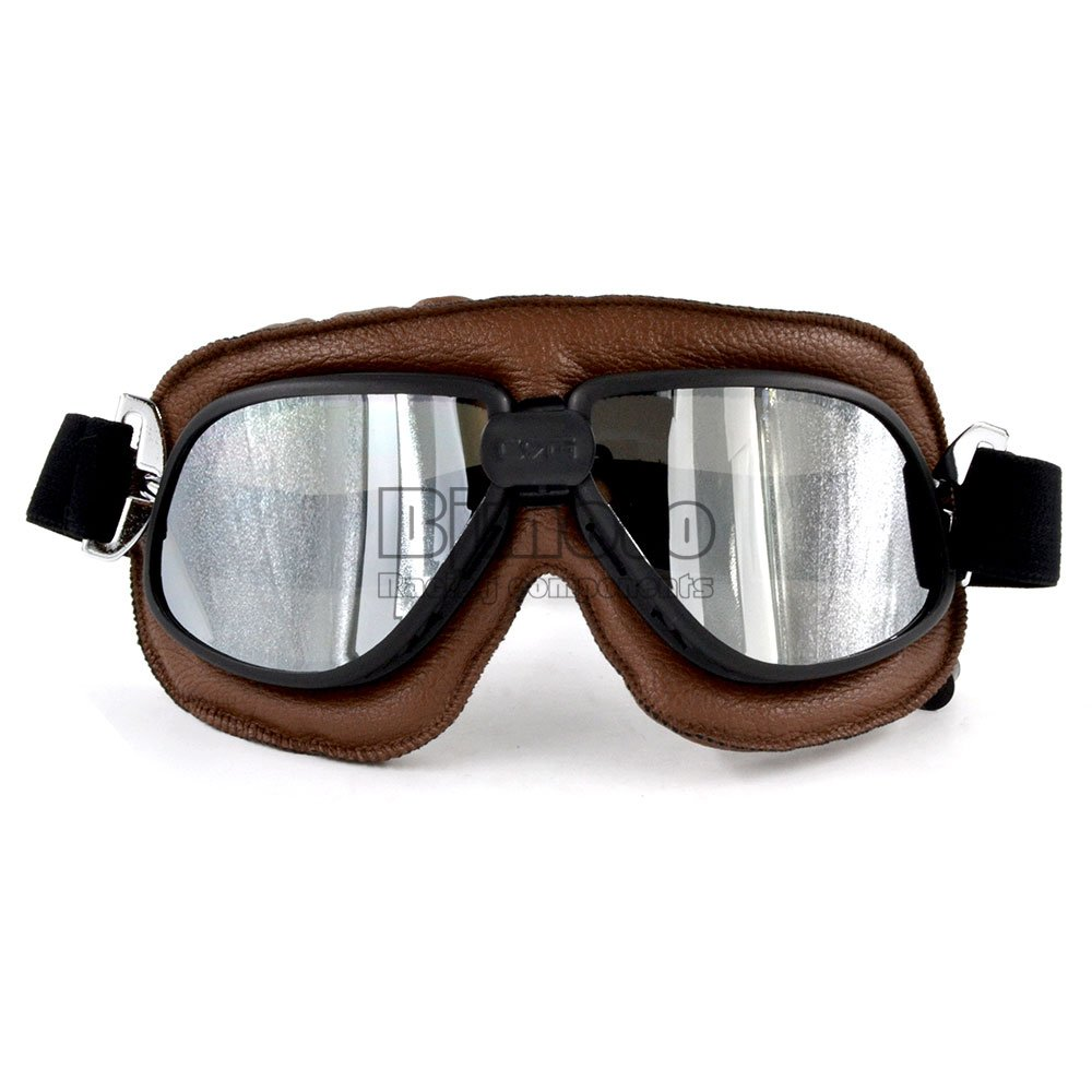 BJ Global Motorcycle Goggle Vintage Pilot Biker Brown Leather Goggle Eyewear Riding Racing Bike Driving Goggle