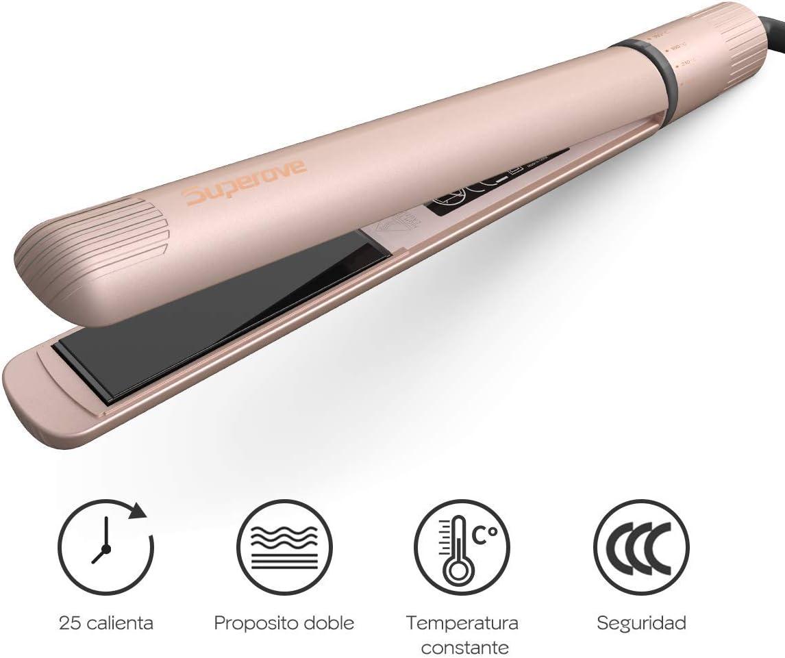 Superove Plancha de pelo, con Profesional tecnología iónica cerámica, Profesional Planchas del Pelo 2 in 1,Planchas del Pelo de Viaje Doble Voltaje