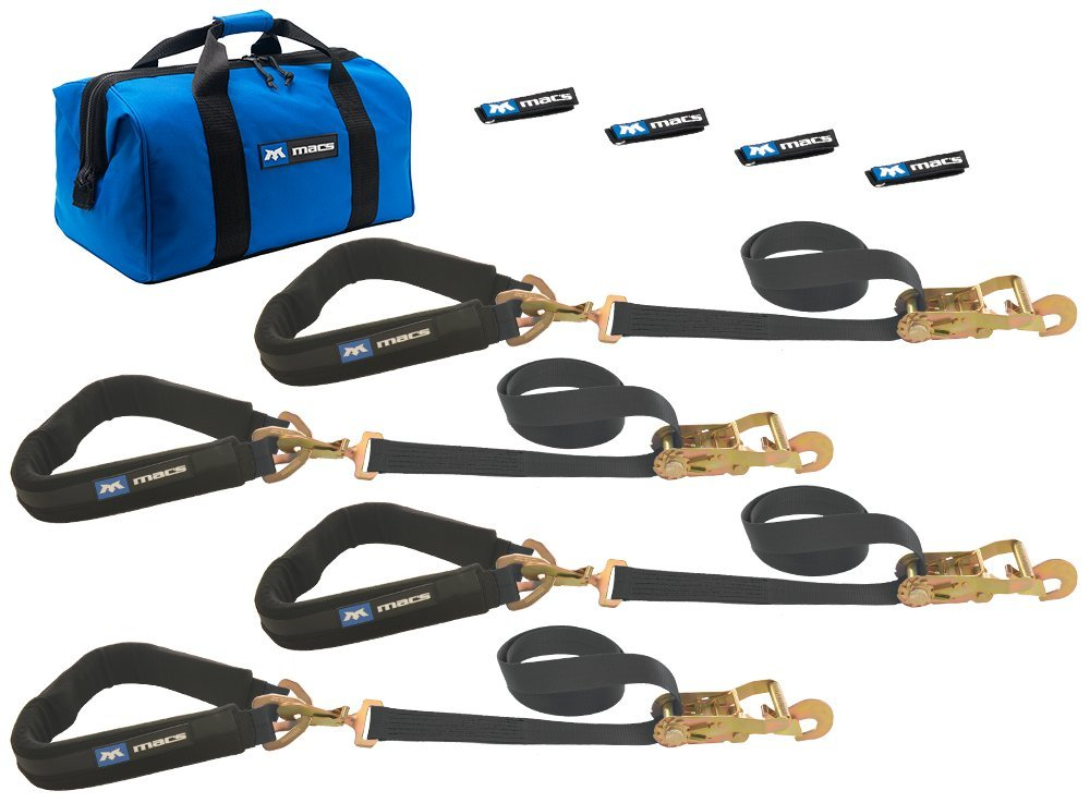 Mac's Tie-Downs 511658 Black Pro Pack with 8' x 2'' Direct Hook Ratchet Straps, 40'' Through-The-Wheel Straps and Fleece Sleeves by Mac's