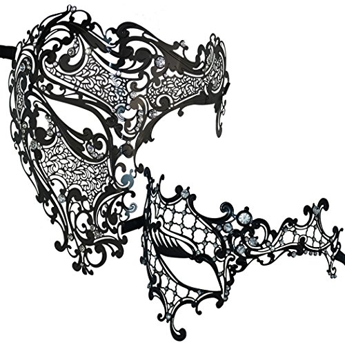 Thmyo Couple's Masquerade Mask Venetian Phantom Of The Opera Laser Cut Metal Mask (Black -