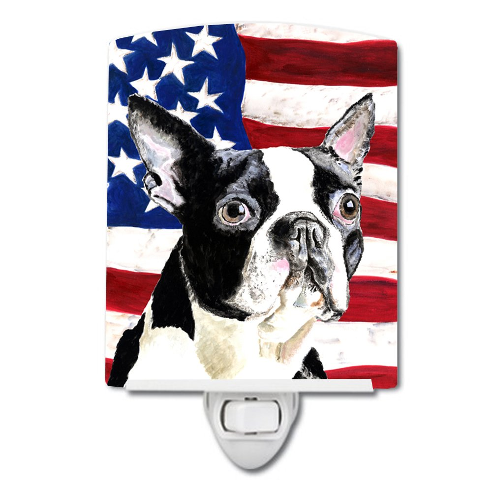 Caroline's Treasures USA American Flag with Boston Terrier Night Light, 6'' x 4'', Multicolor