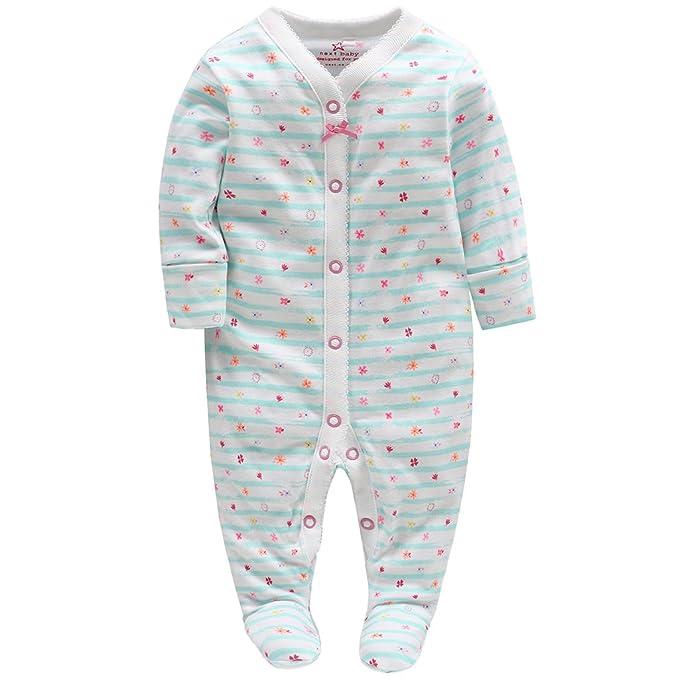 Bebé Pijama Mamelucos de Algodón Peleles Niñas Monos de Manga Larga 0-3 Meses