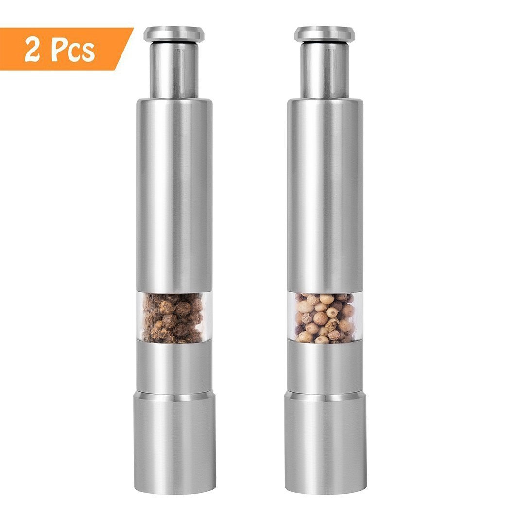 2Pcs Siasky Salt & Pepper Grinders Set, Easy Operate with One Hand, Durable Stainless Steel Pepper Mills, Simple to Use for Kitchen