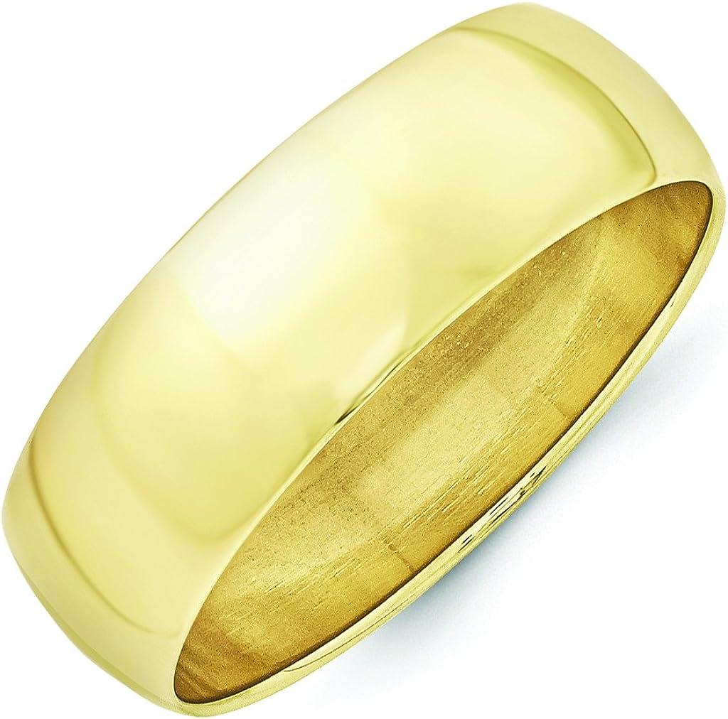 10K Yellow Gold 7mm Lightweight Half Round Band Ring