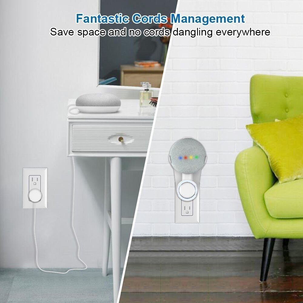 E-Stand ZT5-WT1 Wall Outlet Mount Hanger Stand for Google Home Mini Space-Saving Solution for Your Smart Home Speakers Without Messy Wires or Screws