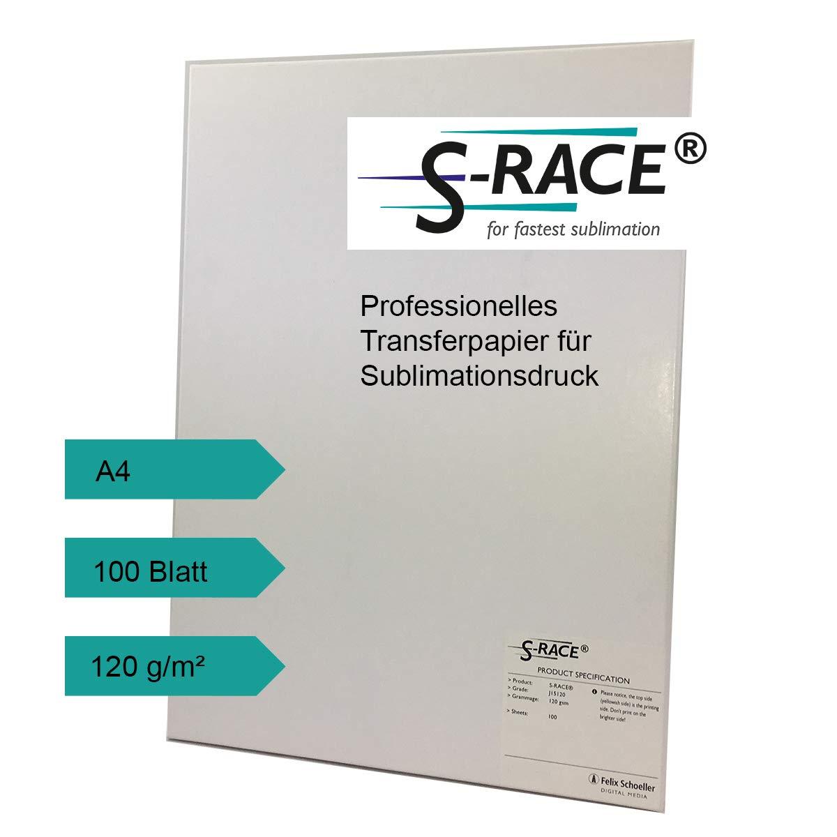 S-RACE Transferpapier DIN-A4 100 Blatt 120g/m² - Sublimationspapier für Inkjet Drucker - schnell trocknend, wischfest Felix Schoeller Group